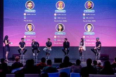 Súper locutores de Nimo TV Brasil. Desde la derecha: LOUD Crusher, Nanda, PlayHard, EI Gato, Piuzinho, LOUD Coringa (PRNewsfoto/Huya)