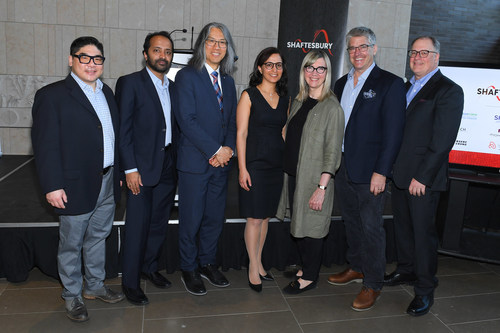 (L-R): Dr. Michael Chang (Division Head of Otolaryngology, Centenary Hospital, SHN), Dr. Naimul Khan (Assistant Professor at Ryerson University and Director of Ryerson Multimedia Research Laboratory), Dr. Tom Chau (Vice President of Research, Holland Bloorview), Dr. Azadeh Kushki (Mary & James W. Davie Scientist at Holland Bloorview and Assistant Professor at the University of Toronto), Christina Jennings (Chairman and CEO of Shaftesbury), Ted Biggs (VP of Convergent / Technology at Shaftesbury), and Scott Garvie (SVP, Business & Legal Affairs, Shaftesbury).Credit: George Pimentel Photography (CNW Group/Shaftesbury)