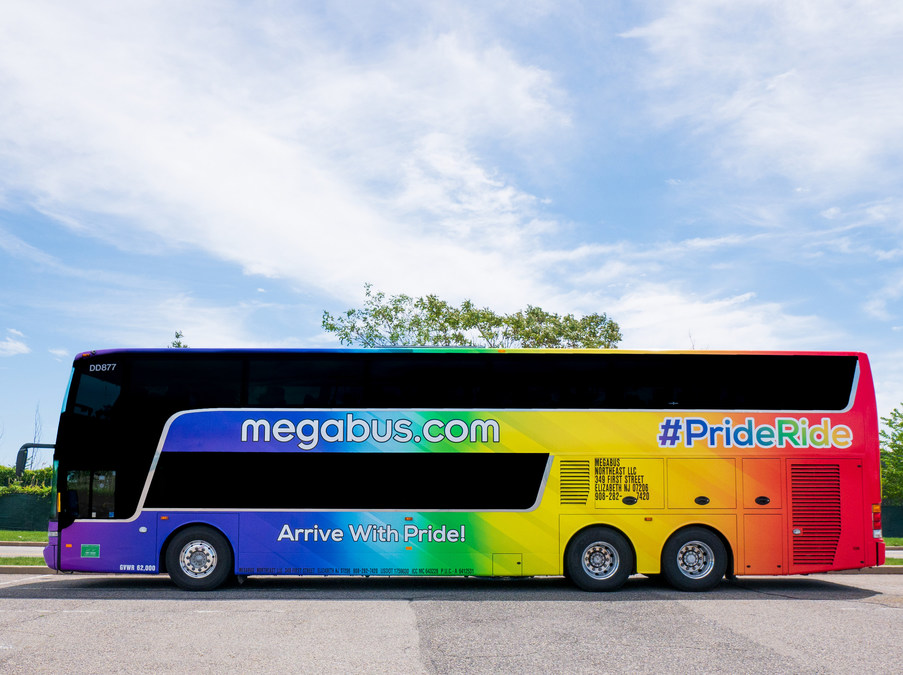 megabus.com Reveals New Pride Bus in Celetion of Pride Month on ny marathon route map, megabus seat map, jfk airtrain route map, air china route map, amtrak train map, new jersey transit route map, staten island ferry route map, alitalia route map, megabus florida map, hudson route map, megabus network map, stagecoach route map, megabus service map, greyhound canada route map, air berlin route map, mega bus map, hilton route map, pan mass route map, union pacific railroad route map, western greyhound route map,