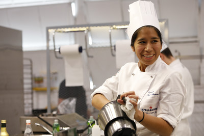 Elizabeth Puquio Landeo, 2018 Global Finalist for Latin America, portrayed during the preparation of her signature dish at the 2018 S.Pellegrino Young Chef Global Final.