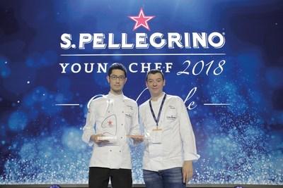 Yasuhiro Fujio, Winner of the 2018 S.Pellegrino Young Chef Award, with his Mentor Luca Fantin, Michelin-starred Chef of the Bulgari Hotel in Tokyo, during the 2018 Global Final. (PRNewsfoto/S.Pellegrino)
