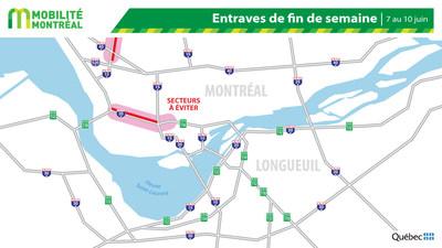 Carte générale des entraves, fin de semaine du 7 juin (Groupe CNW/Ministère des Transports)