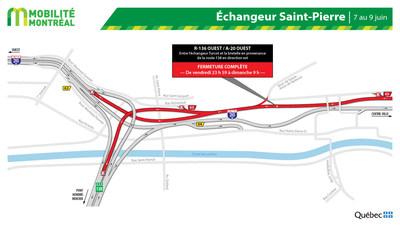 Fermeture A-20 OUEST et échangeur St-Pierre, fin de semaine du 7 juin (Groupe CNW/Ministère des Transports)
