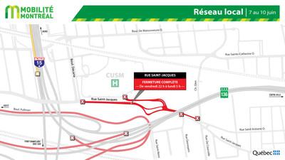 Rue Saint-Jacques et réseau local, fin de semaine du 7 juin (Groupe CNW/Ministère des Transports)