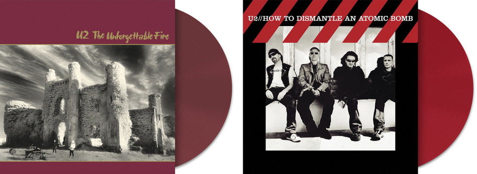 Interscope Records/UMe announce two new colored vinyl reissues from U2. Pressed on 180g vinyl, The Unforgettable Fire (1984) and How To Dismantle An Atomic Bomb (2004) will be released today June 7th 2019.