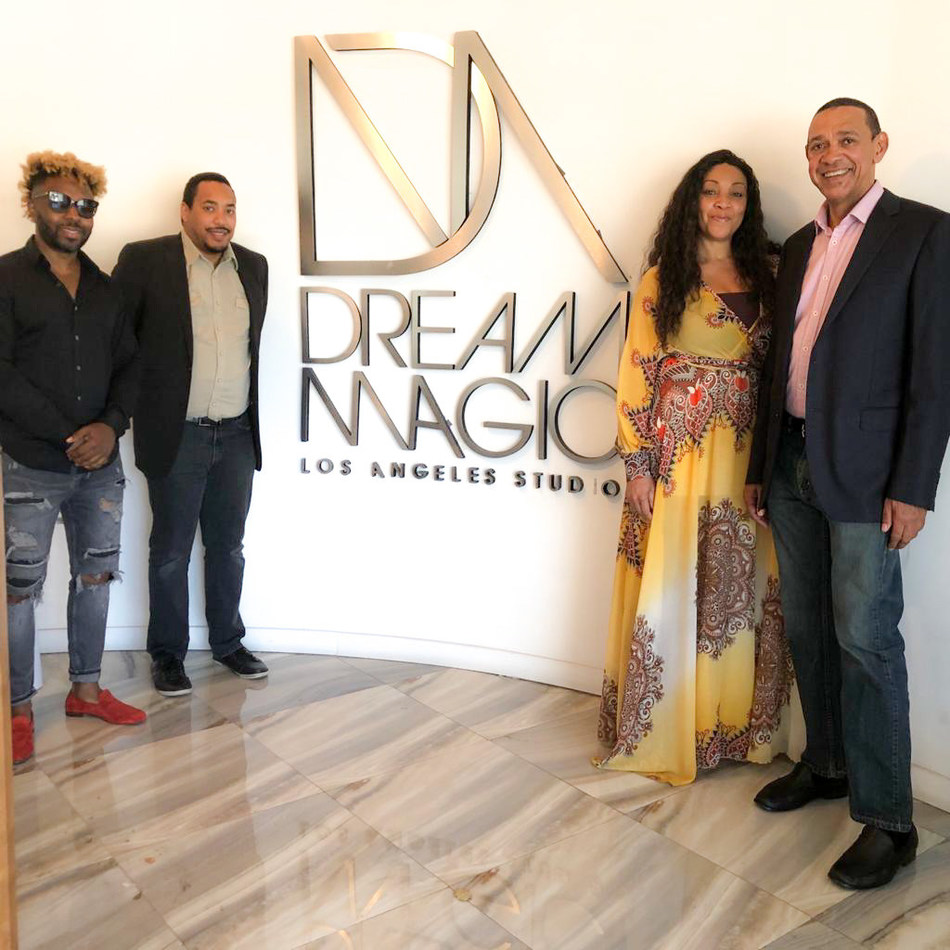 Dream Magic Studios Dream Team: L-R (Jesse Combs, Jonathan Murray-Bruce, Davina Douthard, and Senator Ben Murray-Bruce)