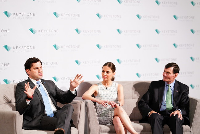 Luis Benitez, Bianna Gologdryga and Tom Kuhn participate in a panel discussion at the Keystone Leadership Awards.