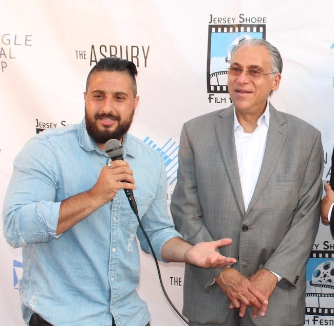 John Budion (Left), last year's winner of the Best Picture Award for his film Rockaway and Stevie Doueck (Right), founder of the JSFF at the 2018 festival.