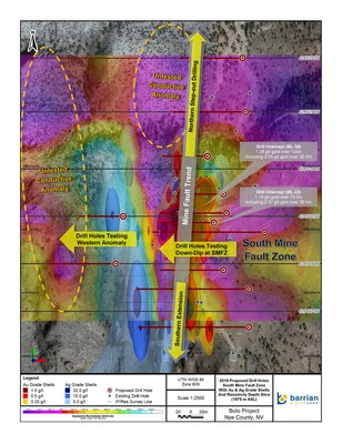 The plan map shows the proposed drill hole locations to test geophysical anomalies and extensions to known gold and silver zones. (CNW Group/Barrian Mining Corp.)