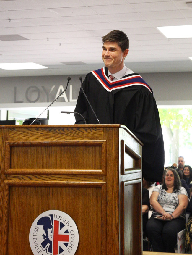 Loyalist College's highest academic honour was conferred upon CBC Meteorologist Ryan Snoddon during the College's 52nd Annual Convocation Ceremony this morning when he received an Honorary Diploma from his alma mater. (CNW Group/Loyalist College)