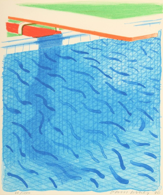David Hockney (British, b. 1937-), 'Pool Made with Paper and Blue Ink' from the 'Paper Pools' series, signed, ed. 66/1000, 1980, 16.5 x 14.75in (framed). Sold for $28,600