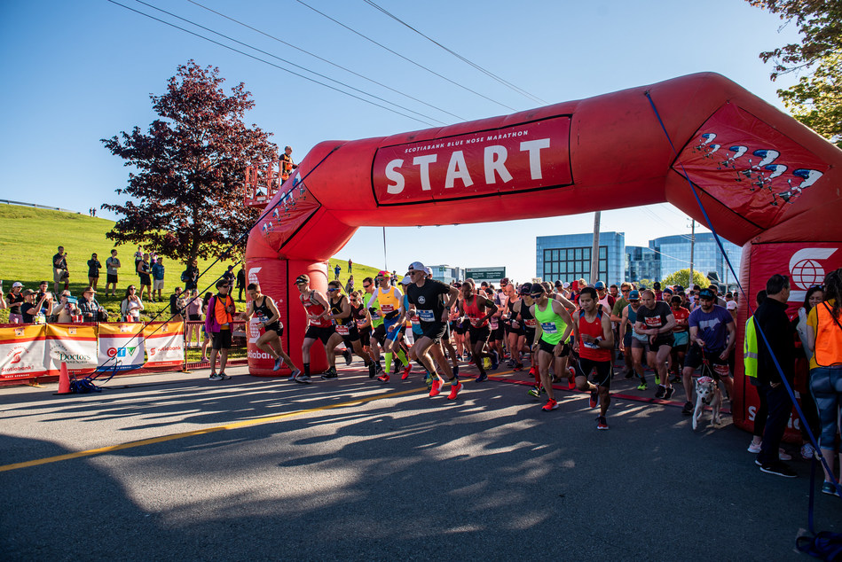 It was a beautiful morning full of excitement at the starting line of the 16th annual Scotiabank Blue Nose Marathon. Over 10,000 participants signed up for one of the seven running events taking place throughout the weekend.   Photo Credit: Stoo Metz (Click Productions) (CNW Group/Scotiabank)