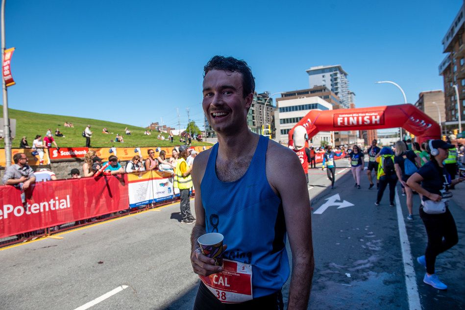 Cal Dewolfe of Conquerall Mills, Nova Scotia wins the Scotiabank Blue Nose Marathon with a time of 2:34.41.  Photo Credit: Stoo Metz (Click Productions) (CNW Group/Scotiabank)