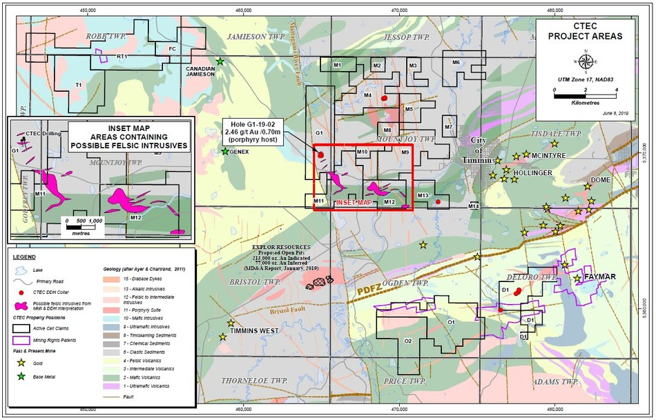 CTEC Project Location and Geology Map (CNW Group/Central Timmins Exploration Corp)