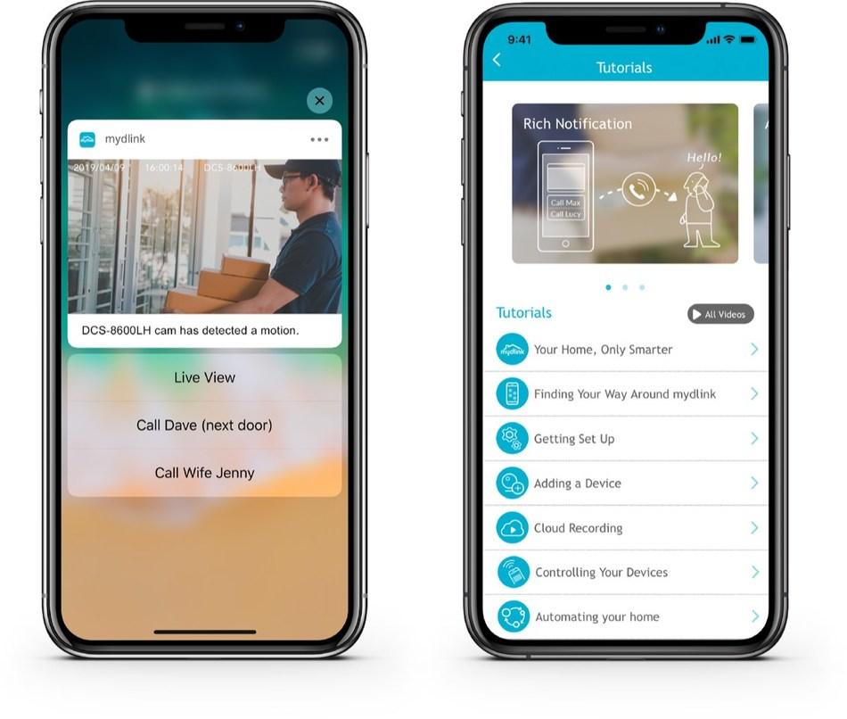 mydlink app features rich notifications & tutorial center