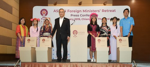 Thai Foreign Minister Don Pramudwinai presented products made from recycled materials to the representatives from the Wiang Phang School in Chiang Mai province during the ASEAN Foreign Ministers' Retreat Press Conference, emphasizing Thailand's effort to go green across the country.
