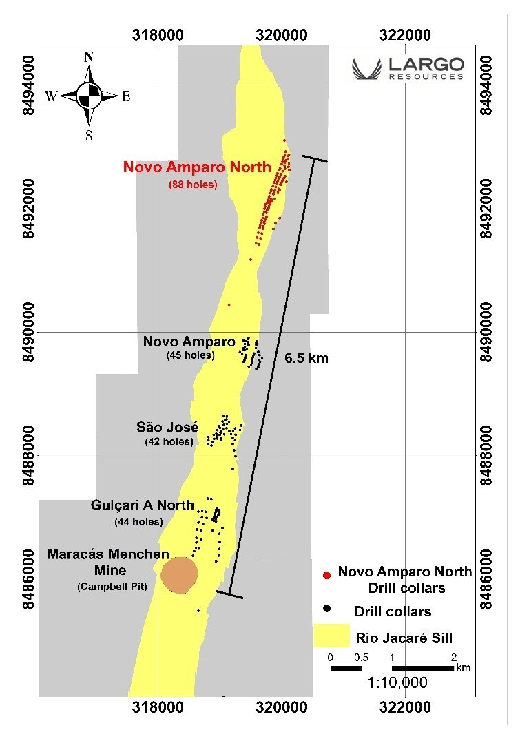 Figure 1:  Rio Jacaré Sill Showing the Maracás Menchen Mine - Campbell Pit and Satellite Deposits (CNW Group/Largo Resources Ltd.)
