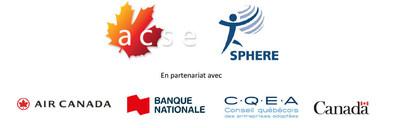 Logo de l'Association canadienne de soutien à l'emploi, SPHERE et des partenaires associés: Air Canada, Banque nationale, Conseil québécois des entreprises adaptées et Gouvernement du Canada. (Groupe CNW/Association canadienne de soutien à l'emploi)