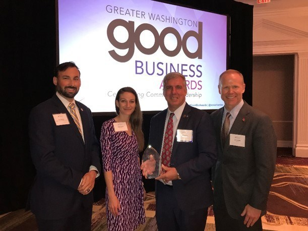 Jamie Gayton, PenFed's Executive Vice President of Member Operations, accepts the Good Business award from Kenneth Lyles, Northern Virginia Regional Program Manager, along with Miranda Jones, PenFed's Military & College Recruit Lead, and Charlie Miles, PenFed's Director of Military Employment Programs.