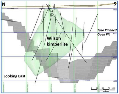 Preliminary cross-sectional image of the Wilson kimberlite in green, looking east from Tuzo. Drill traces are as black lines. Lake surface and bottom sediments are outlined in brown. The proposed open pit profile for the Tuzo kimberlite is in gray. Elevations are in meters above sea level. Not all drill traces are shown. (CNW Group/Mountain Province Diamonds Inc.)