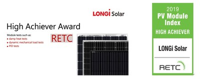 A LONGi recebeu o prêmio High Achiever do RETC pelo excelente desempenho de seus módulos (PRNewsfoto/LONGi Solar)