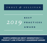 2019 North American Next Generation 9-1-1 Product Line Strategy Leadership Award (PRNewsfoto/Frost & Sullivan)