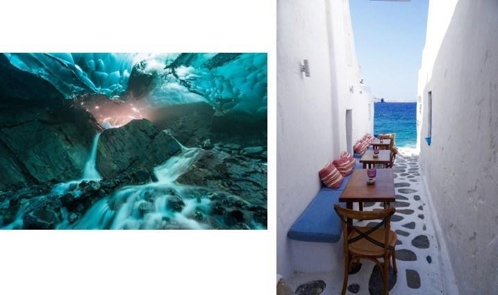 """Carol Lahnum, la ganadora del gran premio del """"Concurso de fotografía de Princess Sea to Sky"""" capturó la imagen (izquierda) de Brown's Cave en el glaciar Mendenhall en Juneau, Alaska, un puerto visitado en cada viaje de Princess Cruises Alaska. Mark Harris, el empleado ganador del gran premio de Princess Cruises, descubrió este café escondido en Mykonos, Grecia (derecha)."""