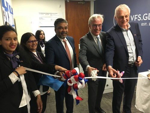 Mr. Bernard Vijaykumar, Regional Head – Americas, VFS Global (third from left),  Mr. Henk Snoeken - Consul General of the Kingdom of Netherlands in Vancouver (fourth from left) and Mr. Jerry Bouma - Honorary Consul of the Kingdom of Netherlands in Edmonton (extreme right) inaugurating the new Netherlands Passport and ID Services Centre in Edmonton, Alberta in Canada on 07 June 2019