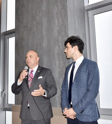 Ray Kerins, SVP of Corporate Affairs for Bayer (left) and Thanos Dimadis, President of the Association of Foreign Correspondents in the United States, announce Bayer's new partnership with the organization.