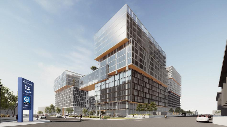 Espace Montmorency in Laval is a partnership between MONTONI, Groupe Sélection and Fonds immobilier de solidarité FTQ. (Credit: Sid LEE Architecture) (CNW Group/Fonds de solidarité FTQ)