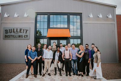 USBG 2019 World Class finalists in front of the soon-to-open Bulleit Distilling Co. Visitor Experience (left to right) back row: Rebecca Edwards, Katie Renshaw, Adam Fournier, Joshua Haddock, James DeFrance. Front row: Samuel Penton, Henry Whittaker, Kevin King, Lauren Paylor, Slava Borisov, Jason Seele, Leanne Favre, Patrick Abalos, Nic Wallace, Christina Mercado