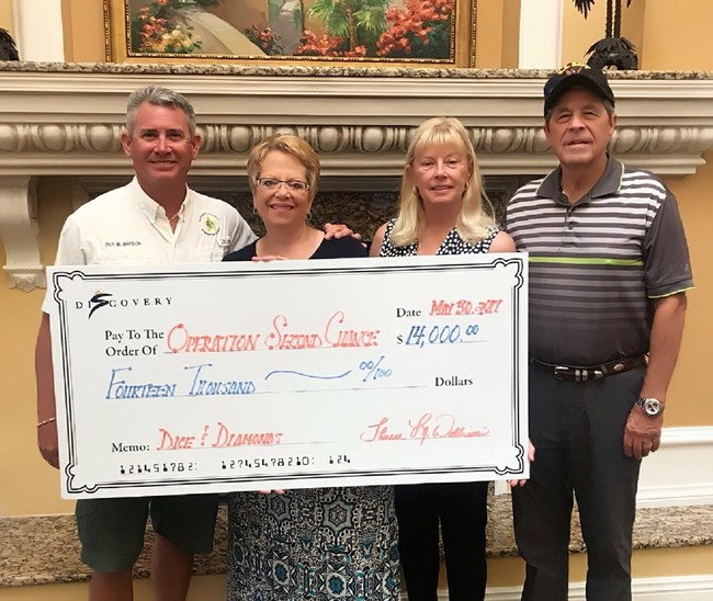 Photo Caption: (From left to right: Deputy Mike Watson, Executive Director of Aston Gardens At Pelican Pointe, Therese Williams, Sponsors Beverly Montgomery and Vern Montgomery)
