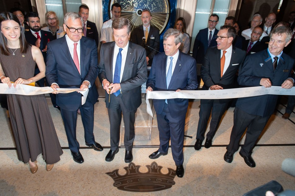 Ribbon Cutting for Fairmont Royal York's 90th anniversary, from L to R: Kaila McMurray, Paul Campbell, Mayor John Tory, Jon Love, Edwin Frizzell, Vergilio Ferreira (CNW Group/Fairmont Royal York)