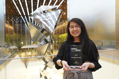 Philadelphia's 2019 Comcast Founders Scholarship recipient, Cindy Phuong, a student at Central High School, during the Leaders & Achievers Scholarship ceremony on Wednesday May 29, 2019 at the Comcast Technology Center in Philadelphia. Comcast Photo/ Joseph Kaczmarek