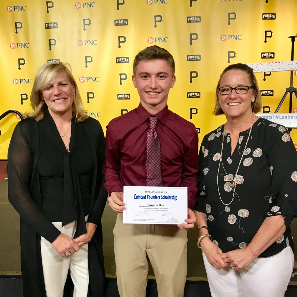 Beth Crow, Director of Community Impact, Keystone Region, Comcast; Pittsburgh's 2019 Comcast Founders Scholar recipient, Cannon Hay, a student Berlin Brothersvalley High School; and Lisa Birmingham, Vice President of Government & External Affairs, Keystone Region, Comcast, at the Pittsburgh Leaders & Achievers scholarship ceremony.