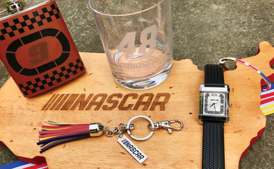 M.LaHart's VICTORY LANE includes great looking accessories like the NASCAR Speedway Watch and colorful Tassel Key Fob, plus new home goods such as the NASCAR Nation BBQ board and custom glassware.  All of the items can be found at www.GoToVictoryLane.com.