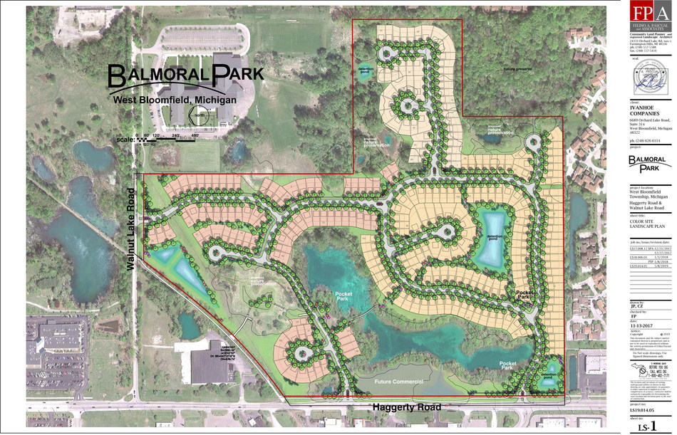 Development of the new $100 million Balmoral Park has begun by the nationally recognized Ivanhoe Companies, creating a new gateway to West Bloomfield Township. Balmoral Park will include as many as 249 sites surrounded by natural elements and close to major amenities.