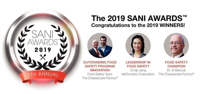 Congratulations to the Winners! The Cheesecake Factory Food Safety Team, Cindy Jiang from McDonald's Corporation and Dr. Al Baroudi from the Cheesecake Factory.