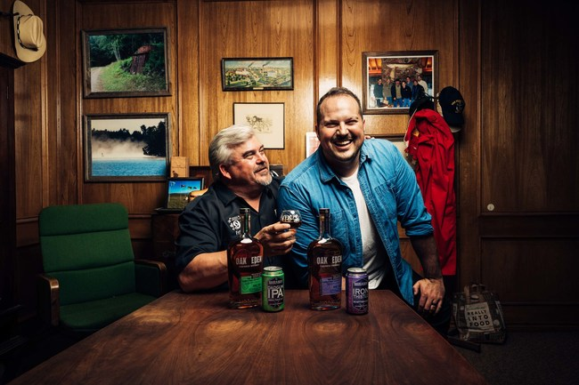 Photo credit Blake Verdoorn. Image of Fritz Rahr, founder of Rahr & Sons Brewery and Brad Neathery, cofounder & CMO of Oak & Eden Whiskey.