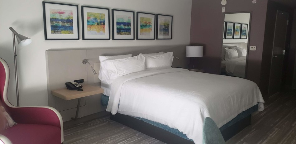 "A newly refurbished room at Hilton Garden Inn Panama City. Hilton's newest design prototype ""Bloom"" is featured throughout the hotel."