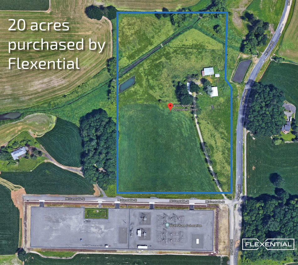 20 acres of land that Flexential purchased recently to build its largest data center ever in Portland, Ore.