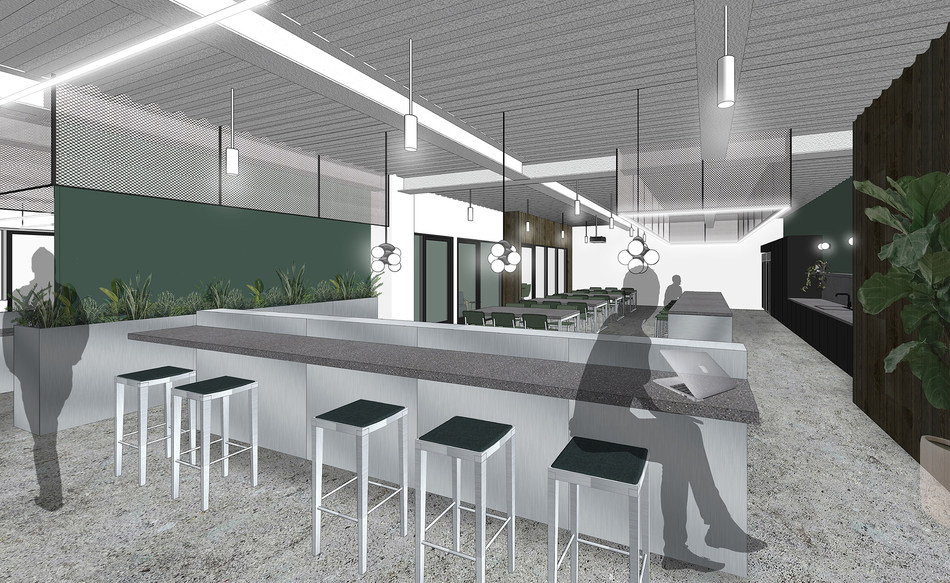 Proposed rendering of the communal pantry and coworking area in CommonGrounds new location planned at 1100 Dexter in South Lake Union.