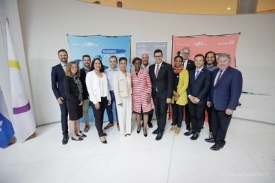 Les participants de l'activité jeunesse organisée à l'occasion de la visite de la secrétaire générale de la Francophonie (Groupe CNW/Cabinet de la ministre des Relations internationales et de la Francophonie)