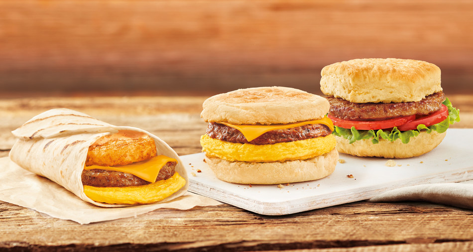 Three 100% plant-based breakfast sandwich options will be available at Tim Hortons® restaurants across Canada starting today. Vegans, vegetarians, flexitarians and meat lovers can now enjoy the Beyond Sausage™ Egg & Cheese, a Beyond Sausage™ Farmer's Wrap and Beyond Sausage™ Lettuce Tomato. (CNW Group/Tim Hortons)