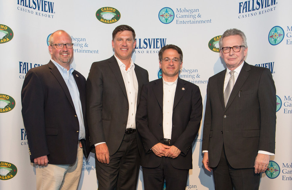 Pictured from left to right: James Gessner Jr., Interim Chairman of Mohegan Tribe, Richard Taylor, President of Niagara Casinos, Mario Kontomerkos, CEO of Mohegan Gaming & Entertainment and Stephen Rigby, President & CEO of Ontario Lottery & Gaming Corporation