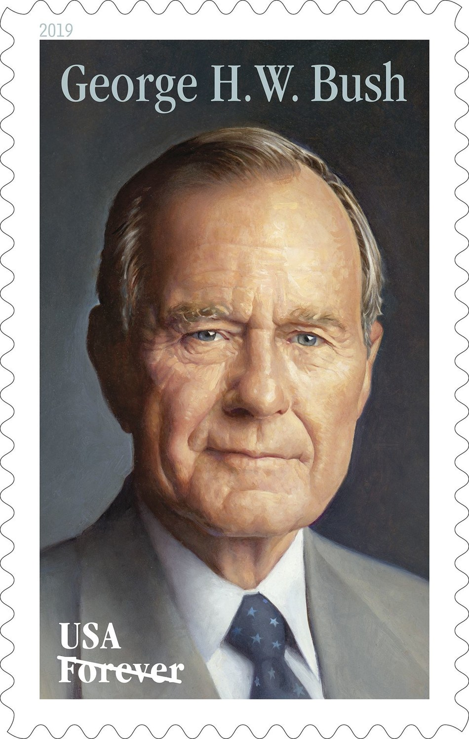 George H.W. Bush Forever stamp on sale today at Post Office locations nationwide and online at usps.com/shop.