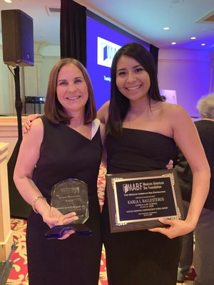 Mount Saint Mary's President Ann McElaney-Johnson, recipient of Community Impact Award, and 2016 MSMU alum Karla Ballesteros, recipient of Steven Espinoza Immigration Scholarship.