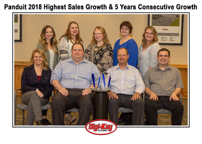 Digi-Key Team with the Panduit 2018 Highest Sales Growth & 5 Years Consecutive Growth Awards