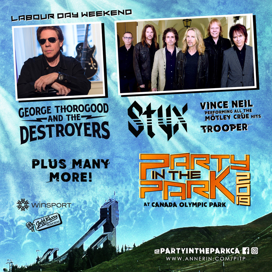 Party In The Park, this Labour Day Weekend featuring STYX, George Thorogood and The Destroyers, plus many, many, more! (CNW Group/WinSport)