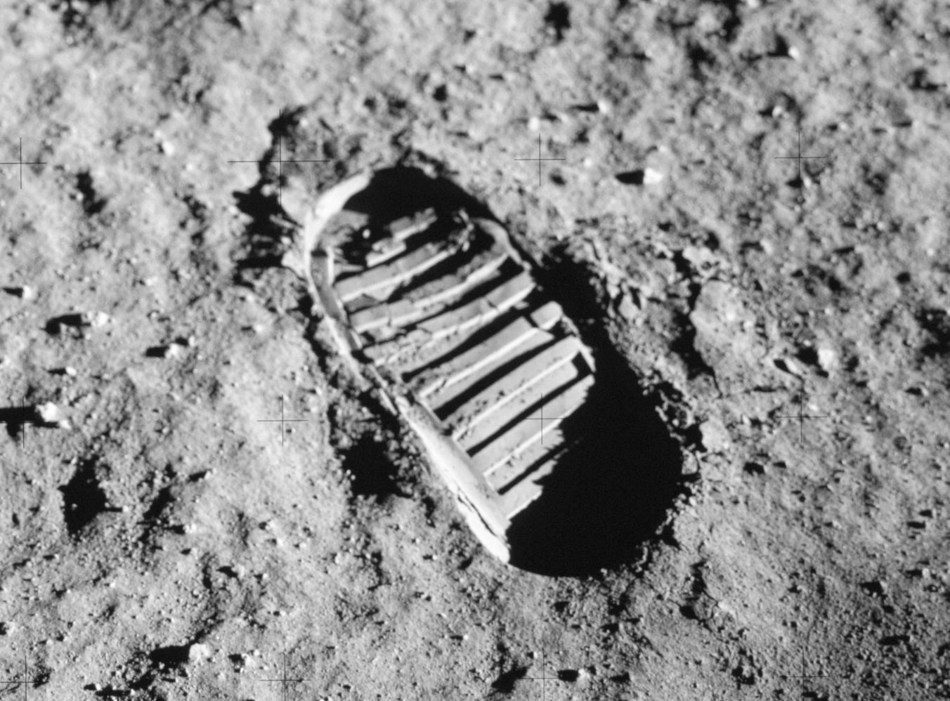 Neil Armstrong footprint from moon landing in 1969.